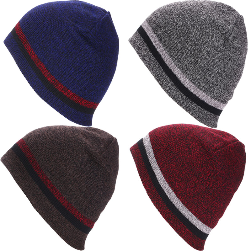 New Fashion Stripes Knitted Hat Cap Beanie Spring Winter  Soft Warm Hats Beanies for Women Men Happybuy