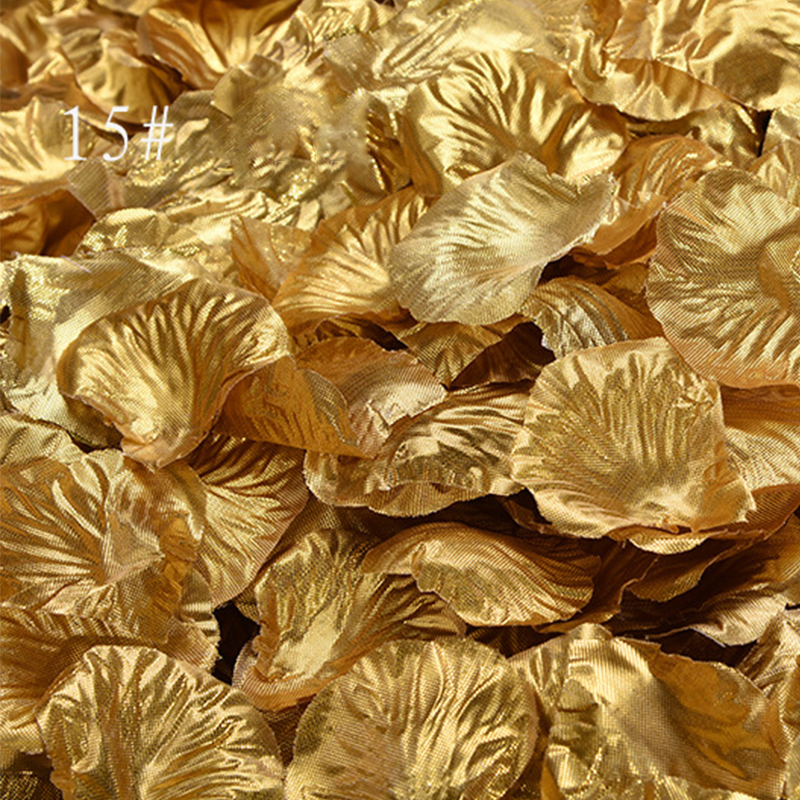 1000 Pcs/lot Gold/Sliver Rose Petals Formal Evening Party Decoration Polyester Artificial Rose Petals Wedding Flowers  SR02