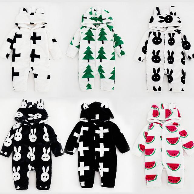 Bebê recém-nascido Romper Manga Longa Engrossado Flanela Romper Com Capuz Bebê Macacão moda terno Do Bebê Romper Terno 6 padrões H00186