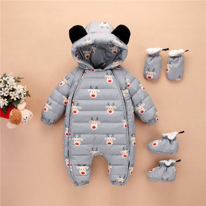Winter warm Baby duck down Rompers infant Boy Thick Jumpsuit baby wear girl Snowsuit Kid Newborn Clothes 3pc romper+shoes+gloves cold winter costumes baby clothes newborn warm rompers enfant outwear snowsuit fur collar duck down waterproof jumpsuit boy girl