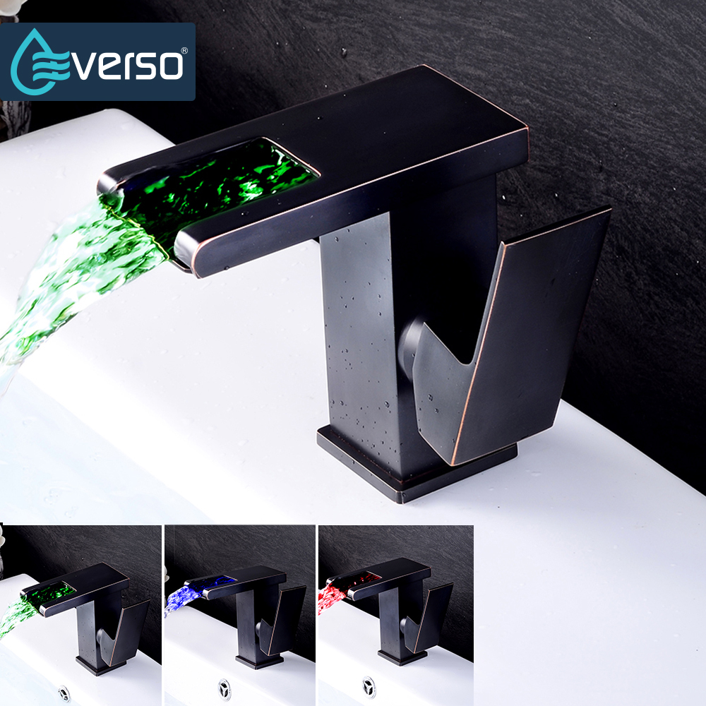 EVERSO Black LED Faucet Waterfall Basin Sink Faucet Chrome Single Handle Bathroom Faucet Cold and Hot Mixer Tap hpb chrome finished waterfall basin faucet sink mixer single handle bathroom water tap hot and cold contemporary style