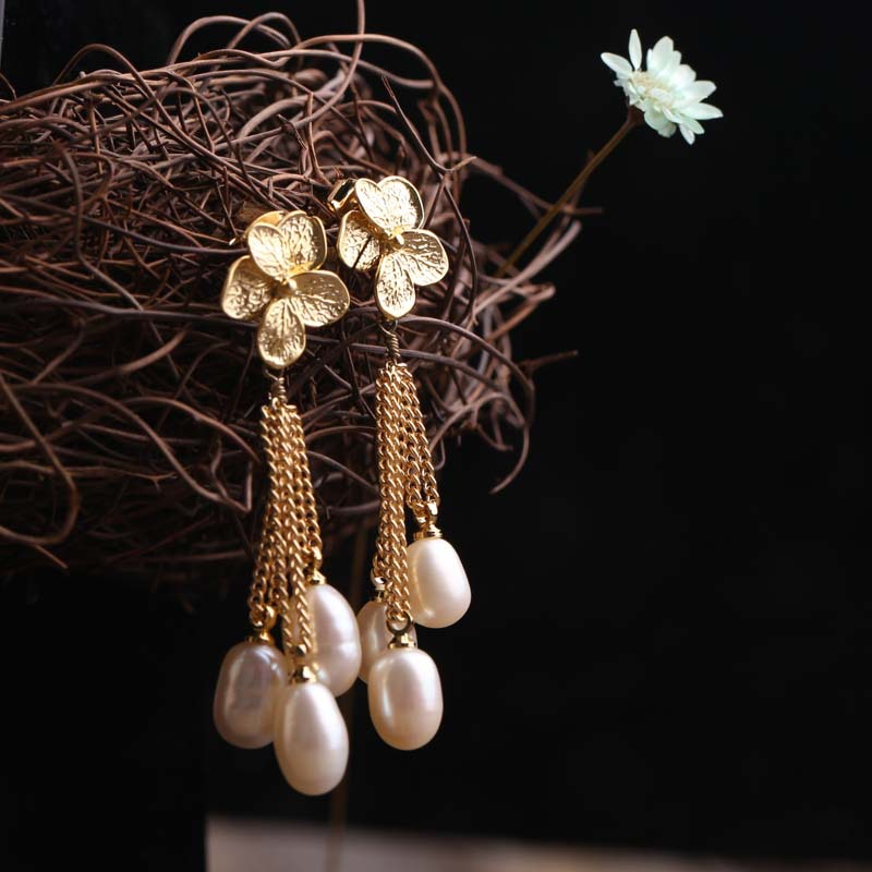925 pure Freshwater Pearl Pendant Silver Gold Flower small female earrings