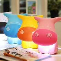 Lovely Cartoon Cow Desk Study Lamp Cute Rechargeable 0 8W 12 LED Tbale Light AC Charging