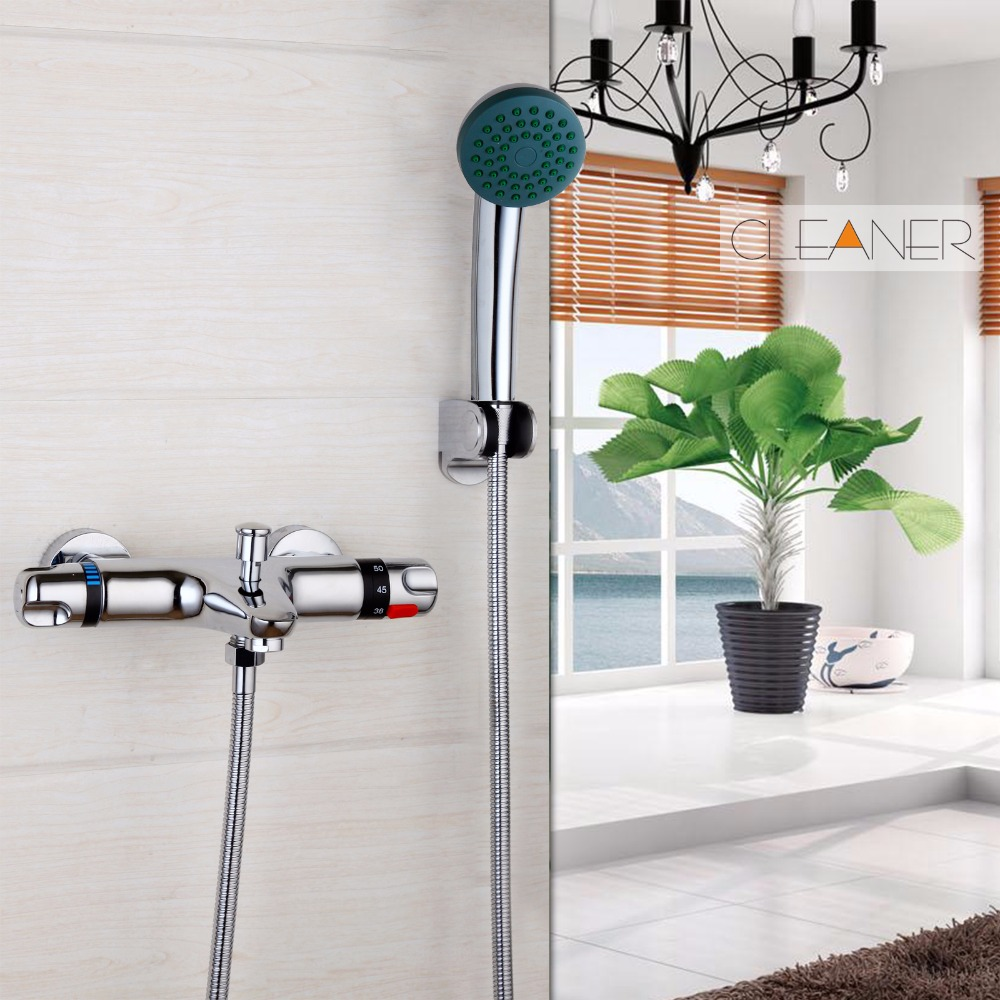 New Wall Mounted Thermostatic Mixer Taps Chrome Brass torneira da banheira Bathtub Sink Basin Faucet Set Exposed Shower Faucet wall mounted two handle auto thermostatic control shower mixer thermostatic faucet shower taps chrome finish