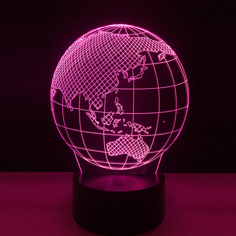 Cool Global 3D LED Earth Globe Map Night Light Bedroom Table RGB Colorful Lamp RC Toy Halloween Xmas Gift for Kids Decoration image