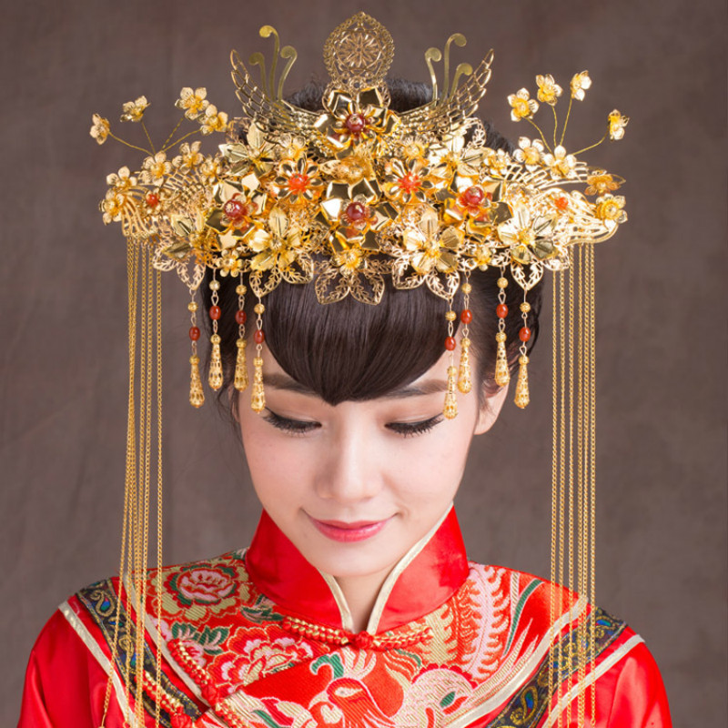AINILIDAN Chinese Style Wedding Jewelry Hair Accessories Classic Bridal Headwear Golden Phoenix Crown Handmade Bride Tiara краска для татуировки golden phoenix 1 4 a2004 4p