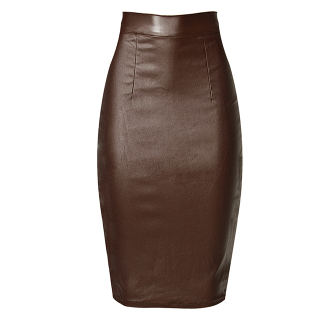 c30fdac6961b9 US $18.31 8% OFF|Brown Leather Coated Jean Skirt Sexy Women High waist  Denim Pencil Skirt Party Knee Length Skirt Street wear-in Skirts from  Women's ...