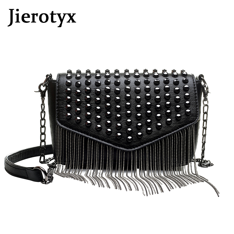 JIEROTYX Fashion Tassel Diamonds Brand Design Mini Chain Shoulder Bag Crossbody Black Leather Rivets Female Bolsa Sac A Main