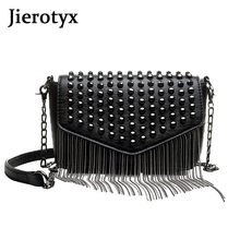 JIEROTYX Fashion Tassel Diamonds Brand Design Mini Chain Shoulder Bag Crossbody Black Leather Rivets Female Bolsa Sac A Main