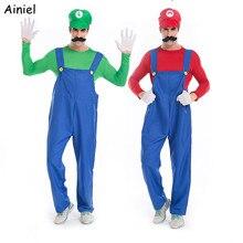 Süper Mario Bro Luigi Cosplay kostüm seti kırmızı yeşil ceket kap pantolon tulum tişörtü yetişkin erkekler için cadılar bayramı kostümleri takım elbise