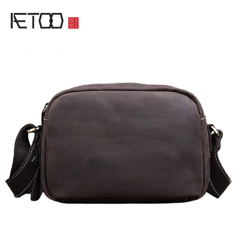 AETOO New retro leather men bag casual handbag bag shoulder Messenger bag mad horse skin цена