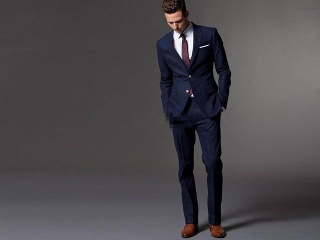 2015 New Men Suits Brand Suits Jacket Formal Dress Men Suit Set Men Wedding Suits Groom Tuxedos Navy Dinner Jacket