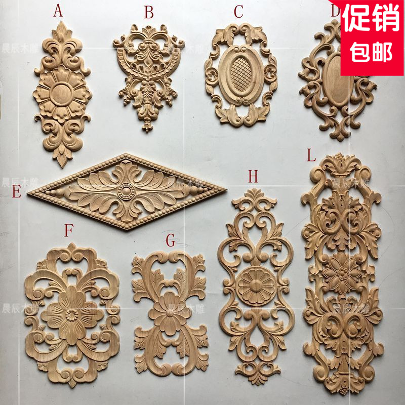 European long wooden carving door flower, Dresser applique, furniture door decals, Home improvement(A745) bedroom home furniture dresser table with 2 drawers mirror and stool neoclassical style kd packaged wooden carved materials
