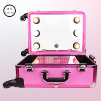 KUNDUI Aluminum frame profelssional makeup beauty Lighting Rolling Luggage travel trolley light make up case bag suitcase box