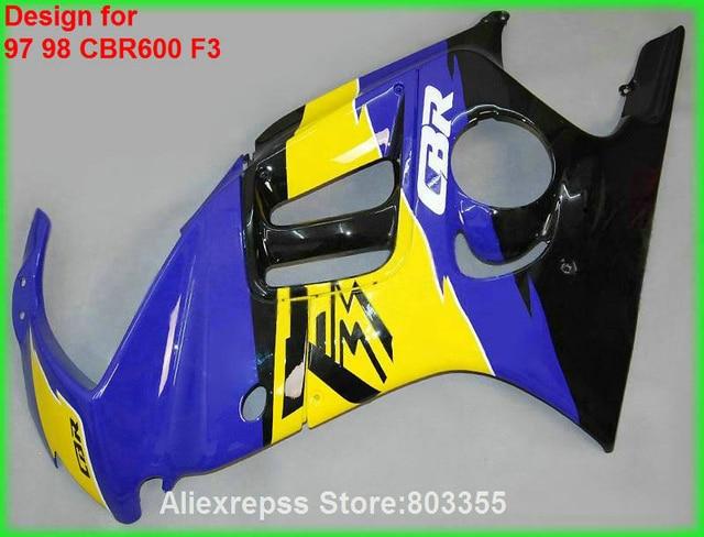 for HONDACBR 600 F3 1998 1997 97 98 Fairings ( Blue yellow ) cbr 600 fairing kit +7gifts xl90
