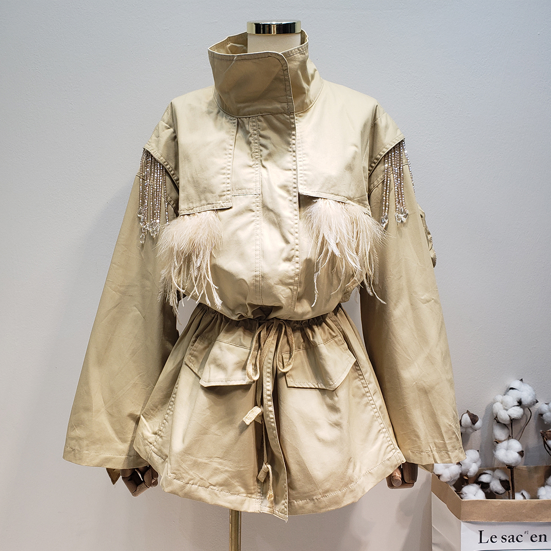 Printemps femmes 2019 industrie lourde autruche plume perlée champignon dentelle taille haute lâche coupe-vent veste Long manteau femmes
