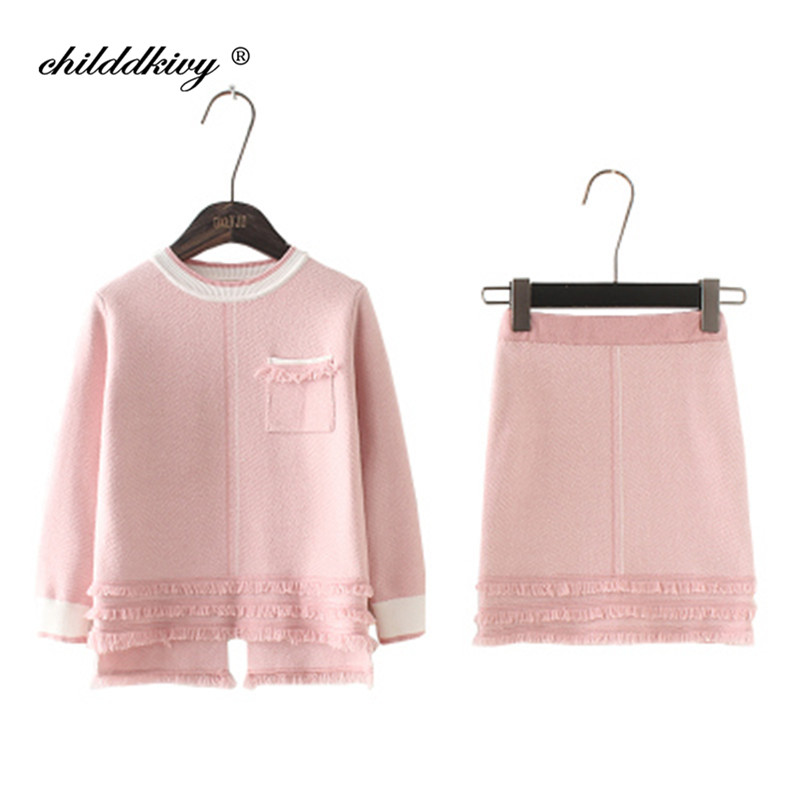 цена Childdkivy Baby Girls Sweaters Winter Set 2018New Brand Girl Long Sleeve Knitted 2pcs Set Top+Dress Kids Autumn Sweater For Girl
