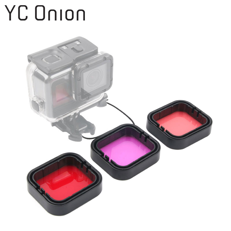 3 Pack Gopro Underwater Dive Filter Kit Red Pink Purple Lens Color Correction Filter for Gopro Hero 5 6 Black Accessories