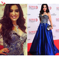 Royal Blue Celebrity Dresses 2016 Gorgeous Evening Party Dress Myriam Fares Ball Gown Embroidery Floor-Length Satin Prom Gowns