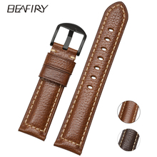 BEAFIRY Litchi Genuine Leather Watch Band 18mm 20mm 22mm Watch Straps Brown Handmade Watchbands Replacement for men women стоимость
