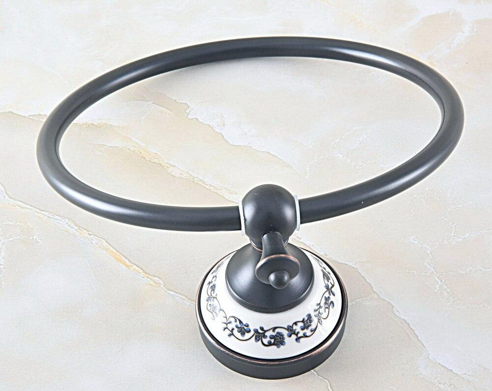 НОВИНКА ванная комната стена крепление черный масло натертый бронза латунь керамика цветок узор полотенце кольцо полотенце вешалка держатель aba061