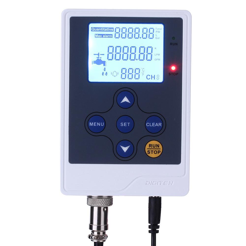 DIGITEN LCD Water Liquid Flow Rate Volume Digital Display Flowmeter Quantitative Controller Liter Gallon LPM GPM