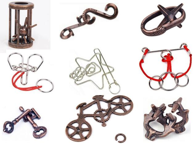 9pcs Cast Metal Wire Mixed Puzzle Set Traditional Iq Puzzles Game Toy