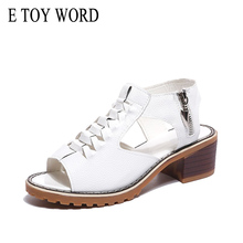 E TOY WORD Vintage Elegant Thick Heel Sandals Womens Summer Style Peep Toe Cross Tied Side Zip Design Shoes Woman Shoes peep toe high thin heel dark khaki women sandals ankle cross tied shoes mature style well matched clothes shoes for summer