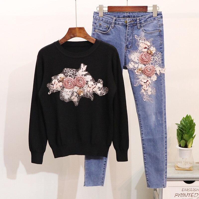 Chandail Deux Femmes De Nouvelles Automne Étudiants Jeans Formation Fille pièce Pantalon 2018 Paillettes Brodé Costume Dimensions Corps Trois nAqg0Hx7xw