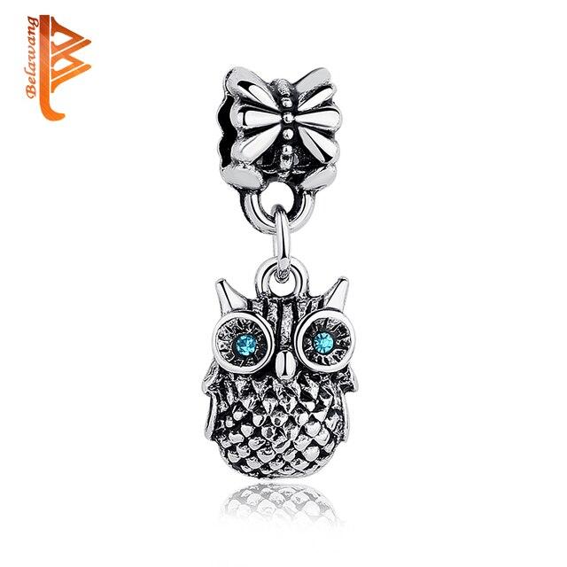 6905f9275 BELAWANG High Quality Silver Blue CUBIC ZIRCONIA OWL Charm Pendant Fit  Original Bracelet Necklace DIY Original Jewelry Making