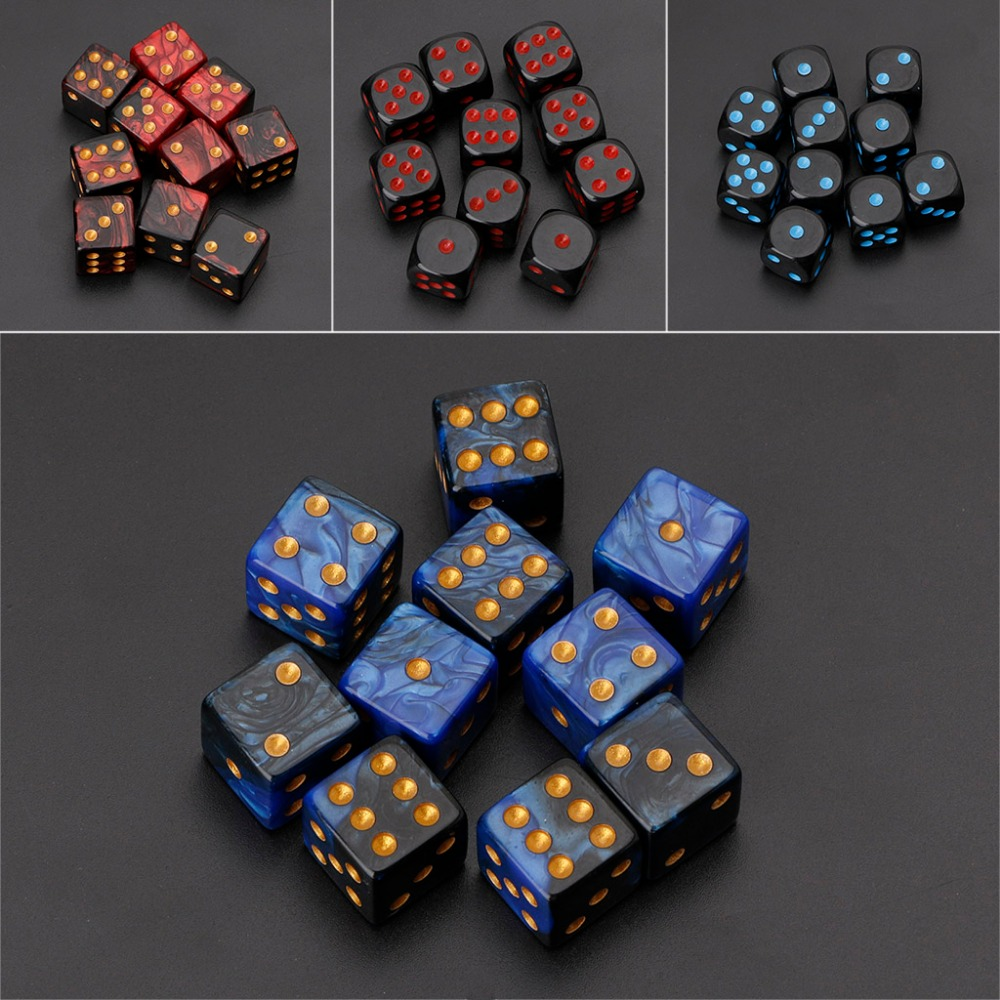 10pcs 15mm Multicolor Acrylic Cube Dice Beads Six Sides Portable Table Games Toy(China)