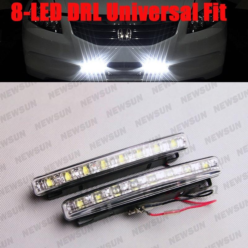 Car 8 LEDs Daytime Running Light DRL Kit Fog Lamp Day Driving LED Light Head Lamp Super White, Led daylight kit for toyota стоимость