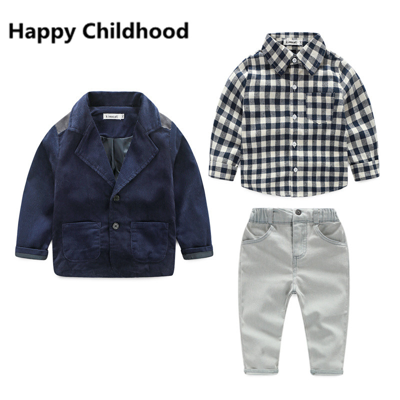2017 Sprinig/Autumn Fashion Boys Clothes 3pcs gentleman boys clothing sets Coat+Long Sleeve Shirt +pants Kids Boy Clothing Set boys clothes brand 2017 autumn boys gentleman set baby boys striped long sleeve shirt denim long overalls pants 2pcs sets 4