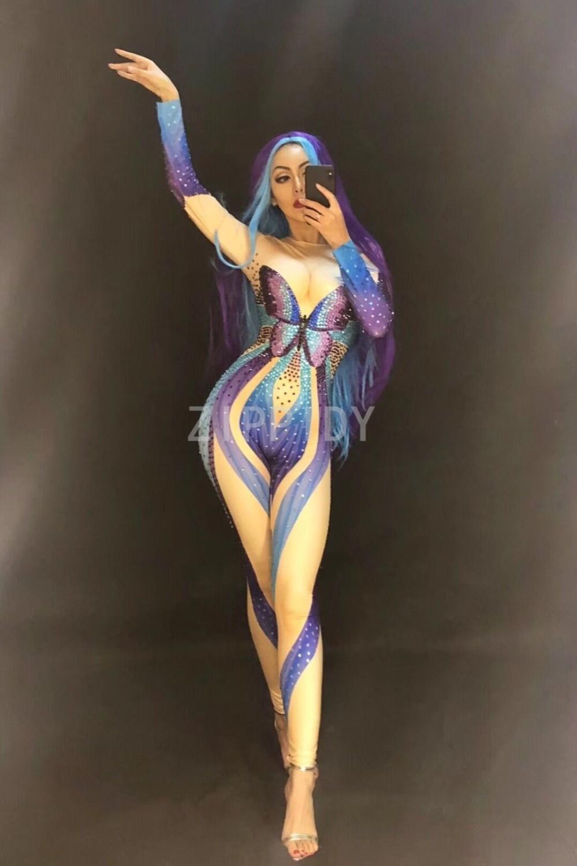Sparkly Multicolor Rhinestones Jumpsuit Butterfly Pattern Diamonds Bodysuit Women s Birthday Celebrate DJ Female Singer Clothes