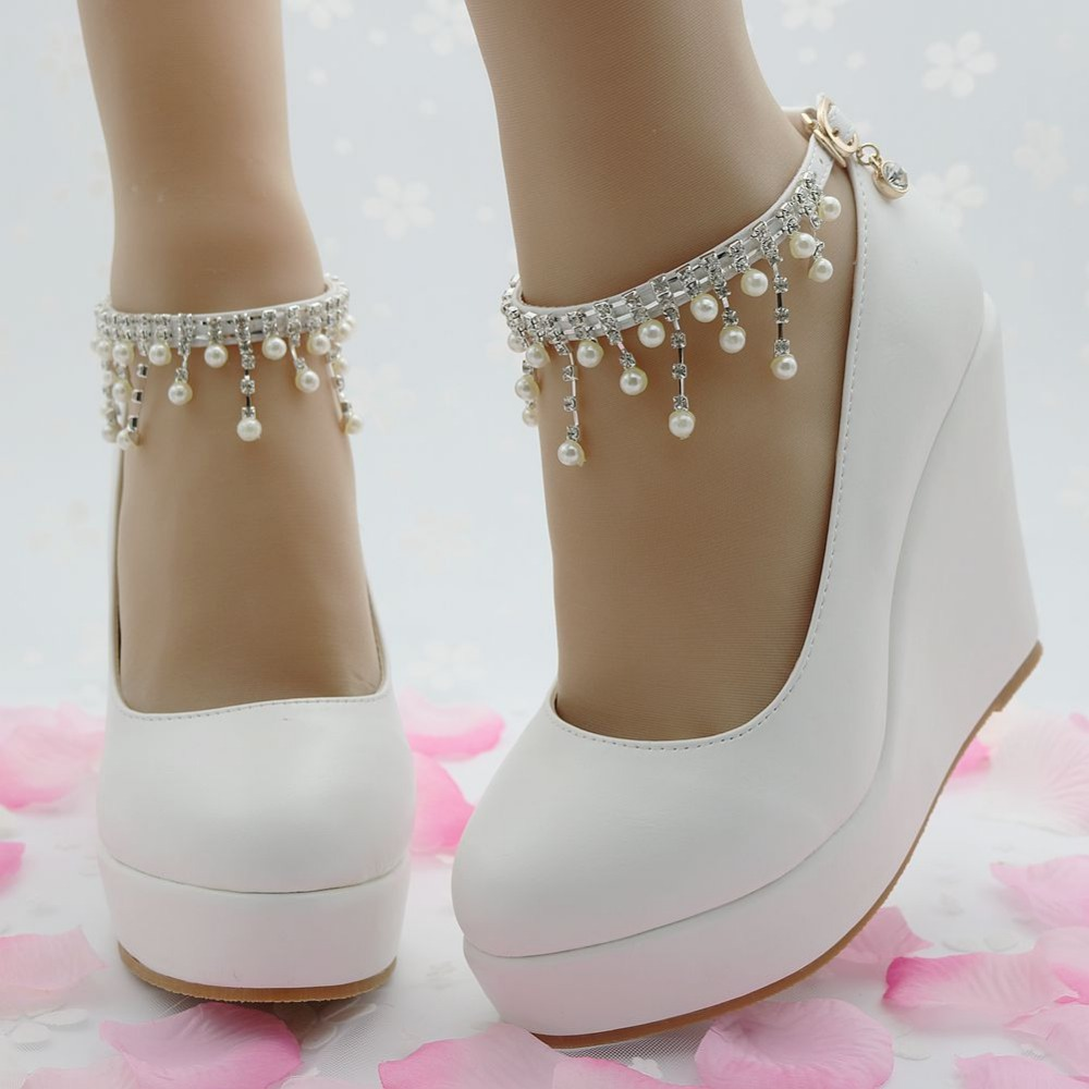 Fashion white wedges pumps shoes platform wedges shoes for women ...