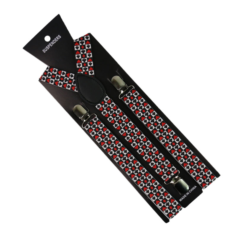Winfox Fashion Men Women Y-Back Poker Player Cards Suspenders Y-Back Braces Unisex Adjustable Elastic Suspenders