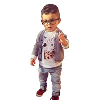 Fashion Boys Clothing Kids Set Striped Outwear Coat And Animal Print Long Sleeve T Shirt With