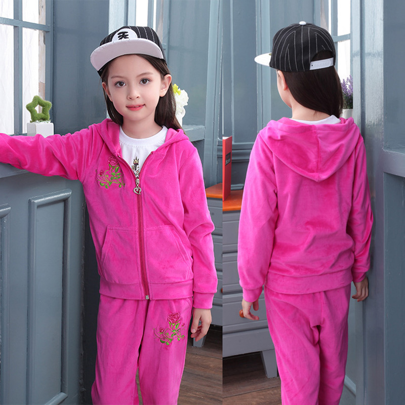 Girls Clothing Sets Autumn Velvet Suit Teenage Student Spring Tracksuits Kids Zipper Hoodies Jacket+Pants Children Sports Wear