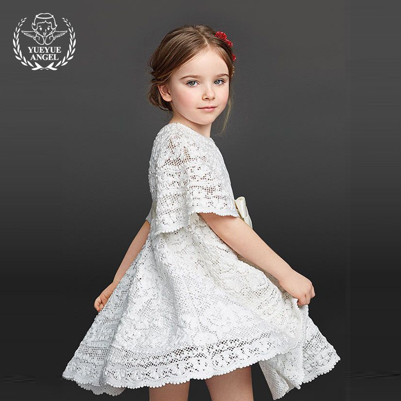 2018 New Girls Summer Floral Dress Princess Loose Fit Short Sleeve Ruched Elegant Robe White Sweet Vestido Curto For Meisjes ruched sleeve dolphin hem floral blouse