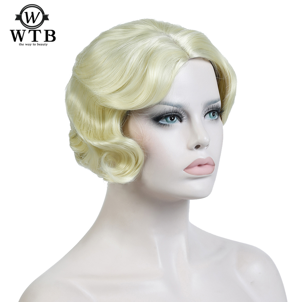 WTB 3 Colors Short Curly Wigs Synthetic Hair African American Wigs Heat Resistant Hair for Black Women
