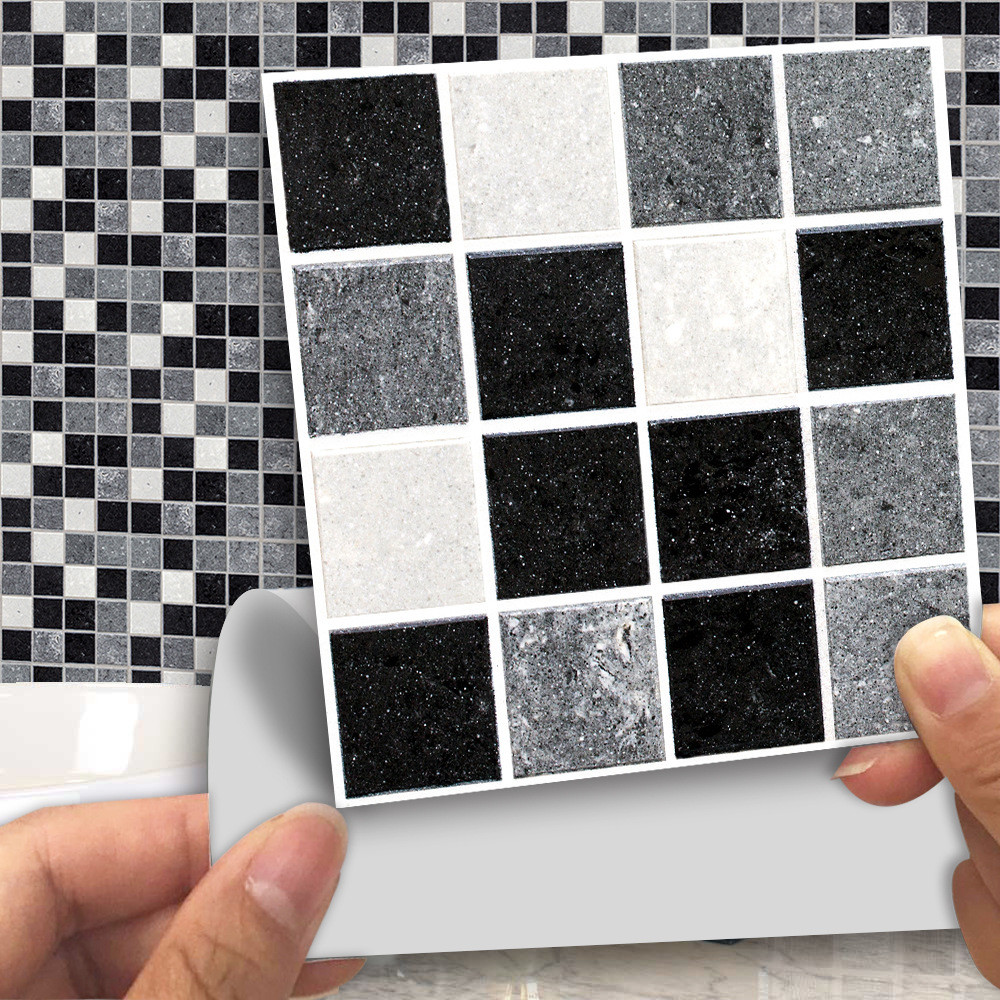 18pcs Mosaic Tile Sticker Kitchen Backsplash Bathroom Wall Tile Stickers Decor Waterproof Pvc Tiles Home Decoration K20(China)