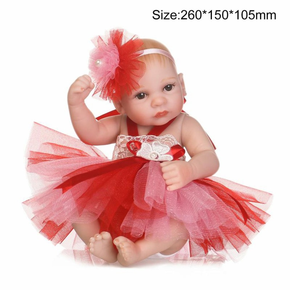 26CM Red Dress Full Body Silicone Reborn Girl Baby Doll Toys Newborn Bebe <font><b>Princess</b></font> <font><b>Toddler</b></font> Babies Dolls Play House Toy Brinquedo image