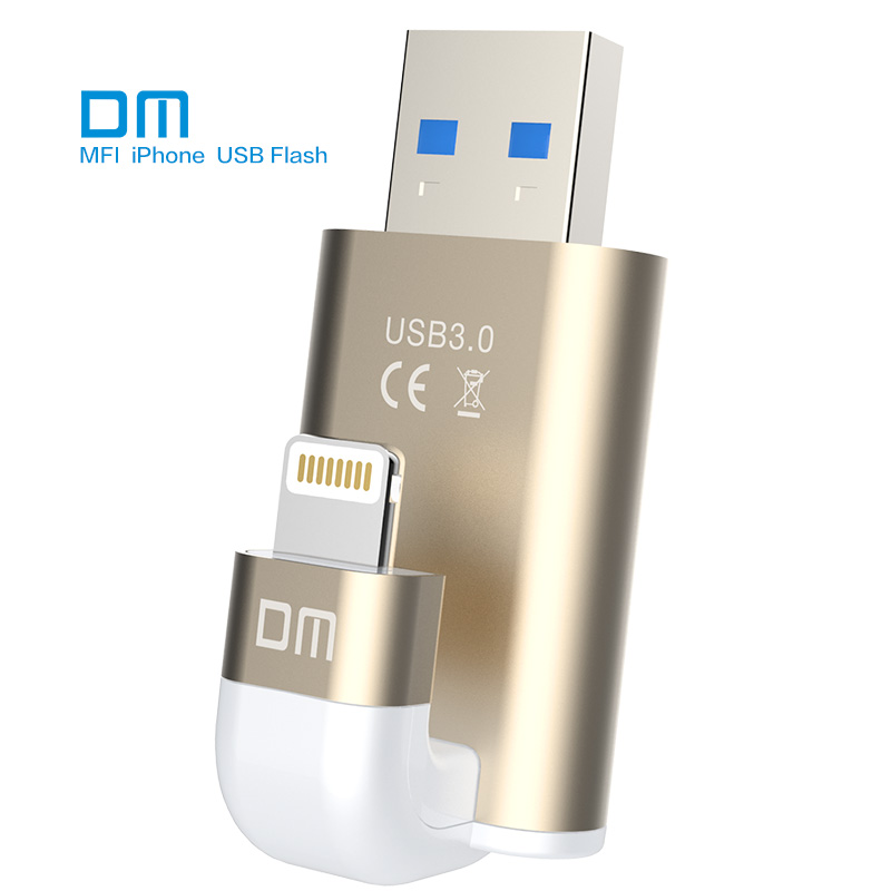 Free shipping DM APD003 USB3 0 32GB MFI usb flash drives for iphone for ipad external