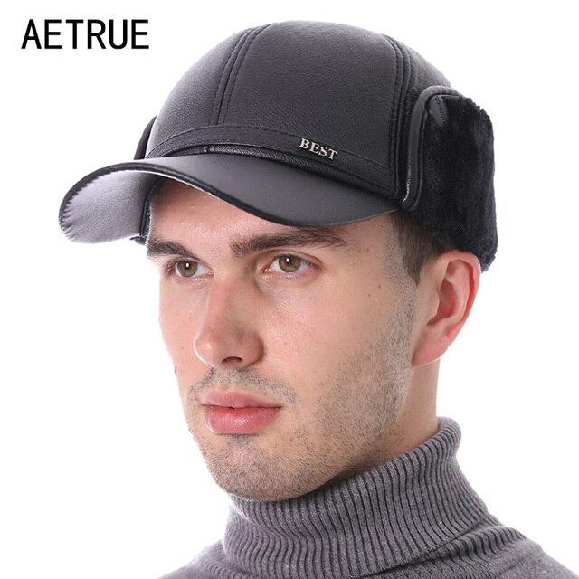 792515856fed1 AETRUE Winter Baseball Cap Men Snapback Black Faux Leather Earflaps Dad Hats  For Men Women PU