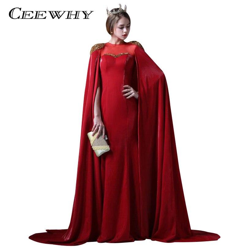 ceewhy vintage long dubai evening dresses with cape long formal dresses abendkleider burgundy. Black Bedroom Furniture Sets. Home Design Ideas