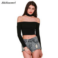Choker Crop Top Bustier Off Shoulder Top Long Sleeve T Shirt Women Cropped Longa Mujer Neck
