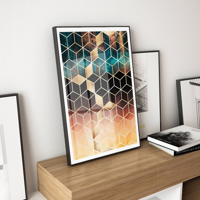 Nordic Geometric Cube Canvas Painting