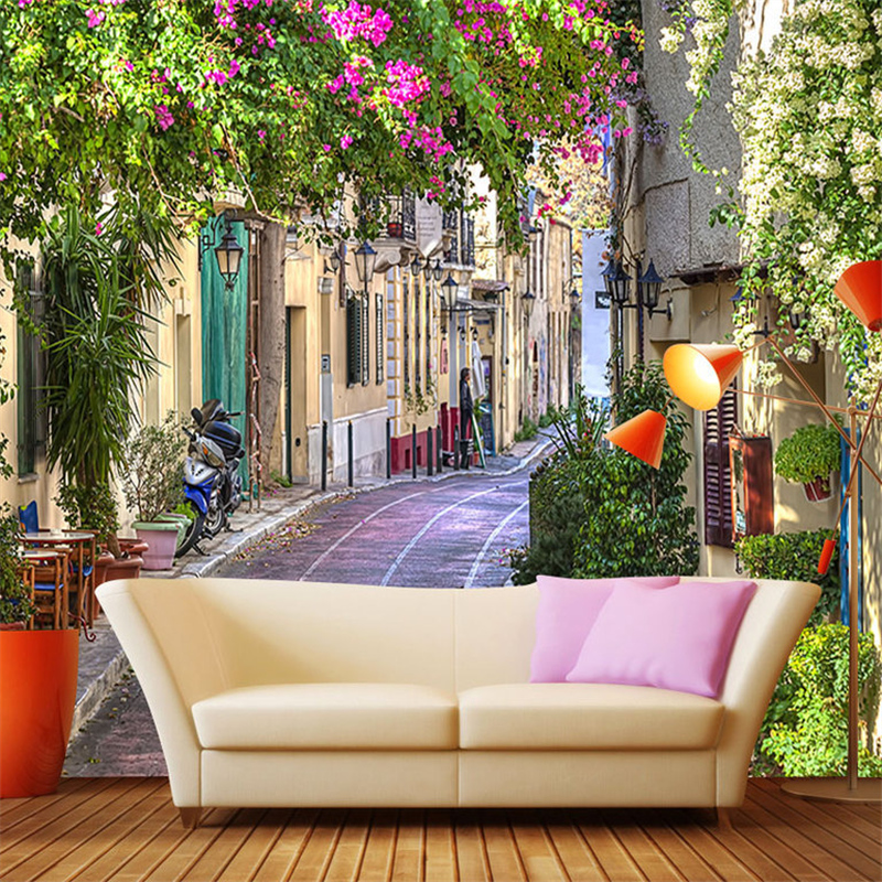 3D Custom European Style Wallpapers Romantic Town Street Wall Murals White Flowers Walls Paper Nature Landscape for Living Room футболка destructo town white 1133970