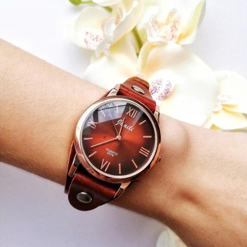 JBAILI מותג מזדמן נשים שעון אופנה אדום שלב שמלת שעונים קוורץ שעון גבירותיי עור שעוני יד Relogio Feminino