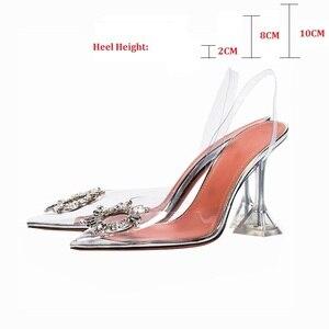 Image 1 - Peep Toe kobiety pompy letnie przezroczyste pcv Party buty z kryształkami wysokie obcasy jasne eleganckie sandały damskie tacones mujer rozmiar 34 40
